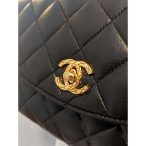 Chanel Classic Flap Rare 1991 Vintage Quilted Black Lambskin Shoulder Bag