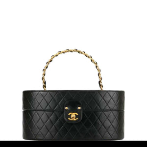 Chanel Vintage 1988 Vanity Quilted Train Case Navy Lambskin Leather Vanity