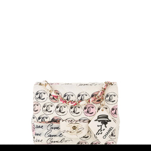 Chanel Vintage Graffiti Creme & Multicolor Mini Square CC Logo Print Canvas Flap Bag