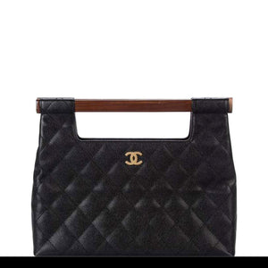 Chanel Wood Top Handle Rare Vintage Black Caviar Leather Clutch