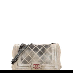 Chanel Classic Flap Graffiti Boy Art School Oh My Khaki Canvas Shoulder Bag