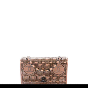 Chanel Vintage Classic Flap Naked Swarovski Strass 2002 Runway Mini Beige Bag