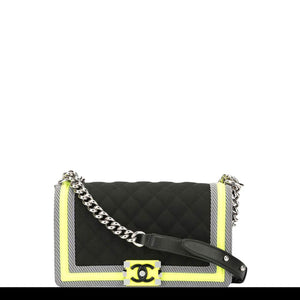 Chanel Boy Soldout Spring 2016 Fluo Medium Rare Black Neon Lime Nylon Cross Body Bag