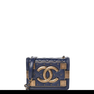 Chanel Handbag Classic Flap Boy Brick Mini Studded Classic Logo CC Navy Blue Bag