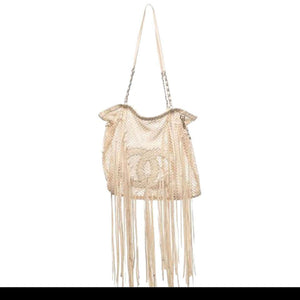 Chanel Resort 2011 Fringe Crochet Woven Mesh Large Beige Leather Tote