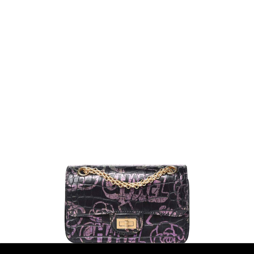 Chanel Classic Flap 2.55 Reissue Graffiti Crocodile Embossed Mini Cocodile Bag