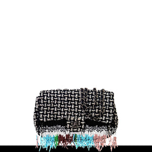 Chanel Dallas Metiers D'art 2014 Multi Color Beaded Fringe Rare Tweed Classic Flap Shoulder Bag