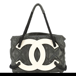 Chanel Cruise Yacht Nautical Beach Black Coated Canvas Tote