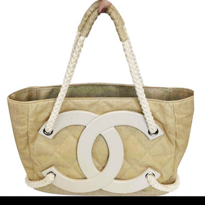 Chanel Cruise Yacht Nautical Beach Beige Coated Canvas Tote