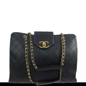 Chanel Vintage Quilted Shopper Lambskin Leather Bag