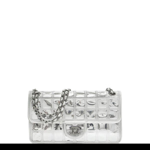 Chanel Ice Cube Flap Metallic Silver Leather Shoulder Bag