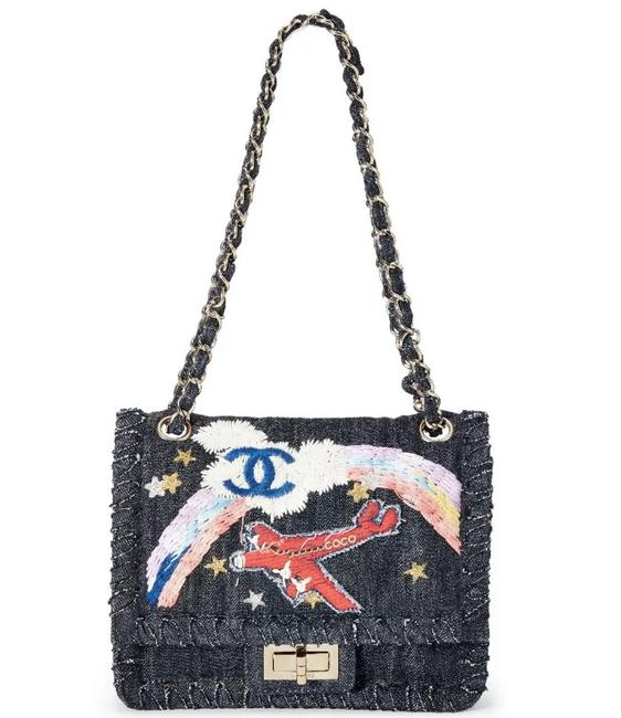 Chanel 2.55 Reissue Limited Edition Airplanes Flap Blue Denim Shoulder Bag