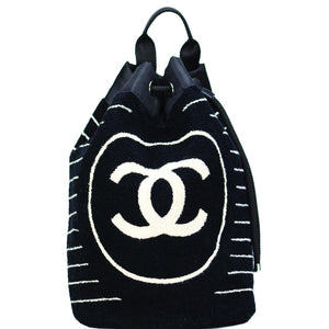 Chanel Dark Blue Striped Beach Bag Drawstring Backpack