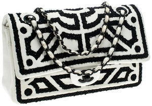 Chanel Vintage Classic Flap White and Black Lambskin Leather Shoulder Bag