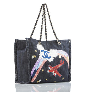 Chanel Denim Jean Mixed Media Large Airplane Tote