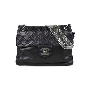 Chanel Classic Flap Besace Resort 2009 with Mesh Chain Black Lambskin Leather Shoulder Bag