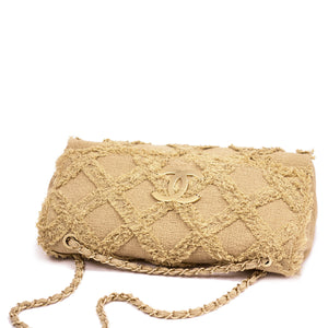 Chanel Natural Tweed Crochet Beige Extra Large Limited Edition Jumbo Flap Bag