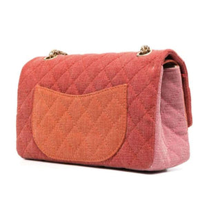 Chanel Vintage Quilted Canvas Orange Pink Shoulder Bag
