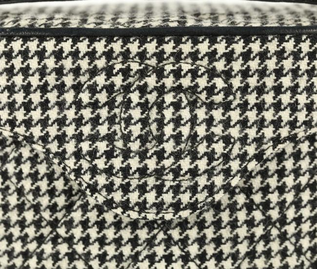 Chanel Vanity Case Very Rare Vintage 90's Houndstooth Black and White Wool Bag