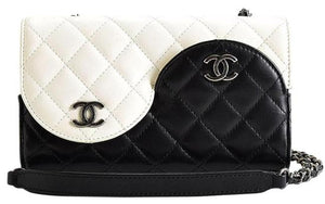 Chanel Wallet on Chain Classic Flap Rare Ying Yang Mini Woc Black and Ivory White Lambskin Leather Cross Body Bag