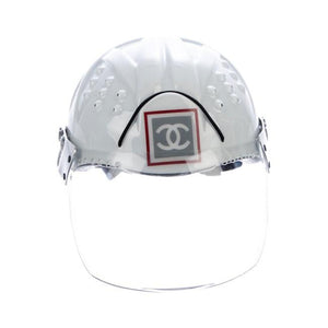 Chanel White Logo Vintage Helmet Limited Edition Novelty Ski Helmet