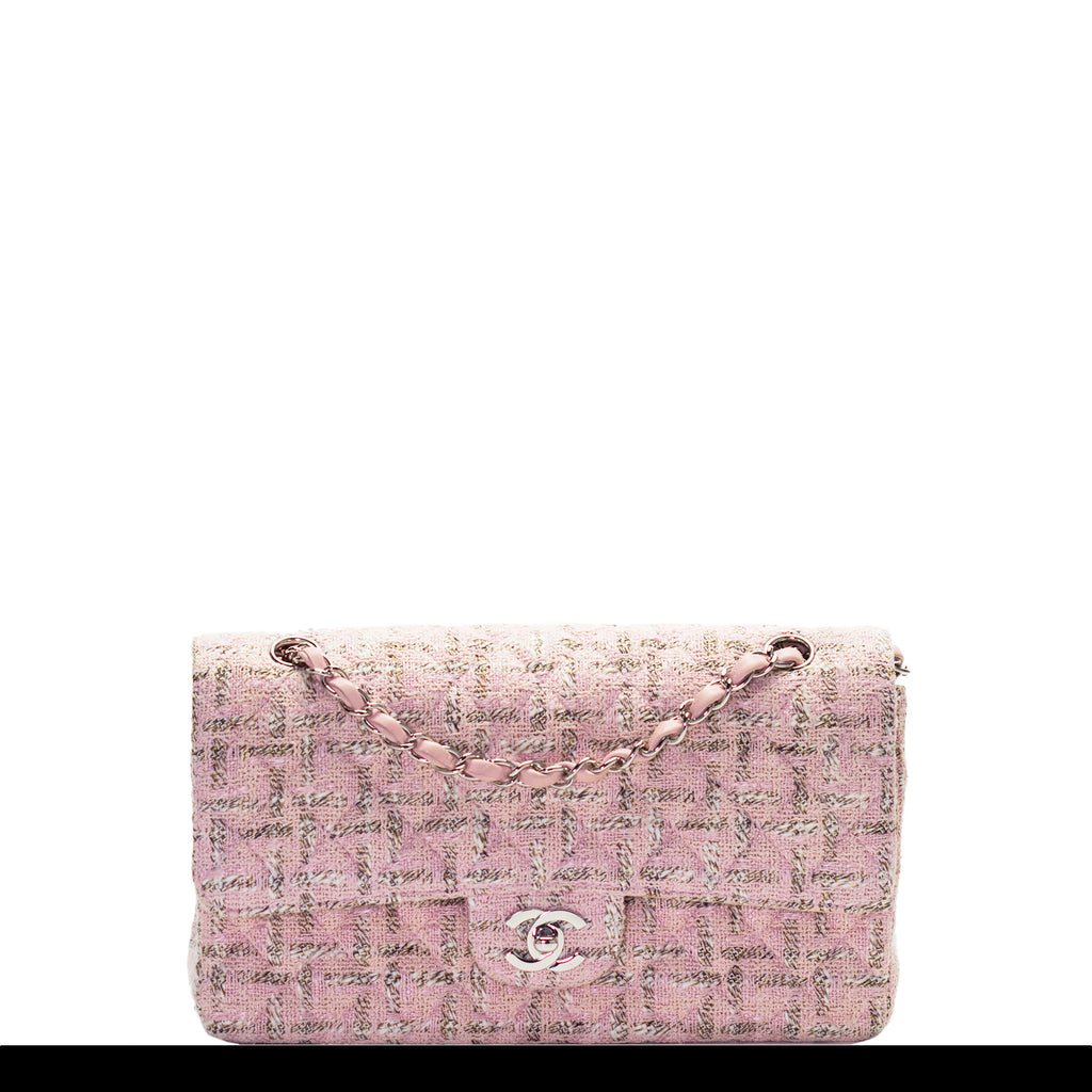 Chanel Pink Tweed Classic Flap