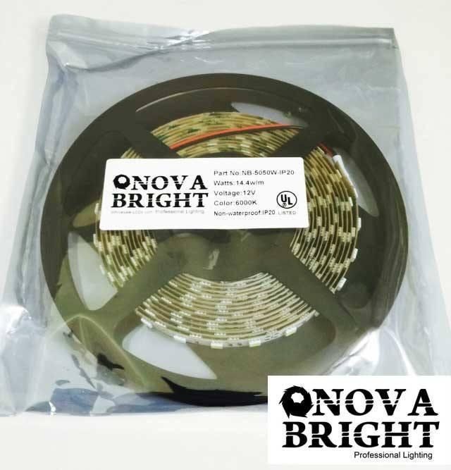 UL Approved Strips;Exhibit & Trade Show Lights - NovaBright 24V UL Approved 5050SMD LED Strip Light White 6000K IP20