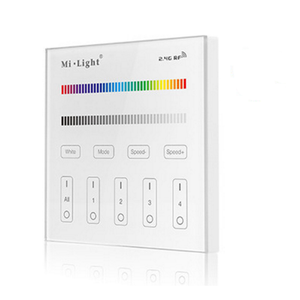 2.4G RF 4 Zone RGB/RGBW Wall-Mounted Smart Touch Screen Panel Controller AC 90-120V For 4 Zone Receivers