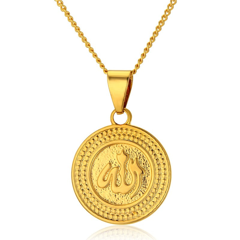 Gold color allah necklace round allah pendant necklace republic gold color allah necklace round allah pendant necklace mozeypictures Choice Image