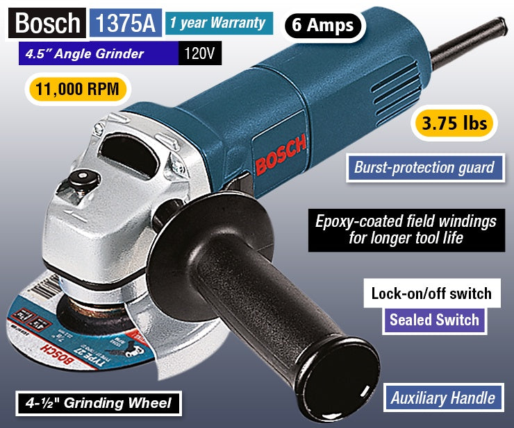 "Bosch 4 1/2"" Angle Grinder 1375A"