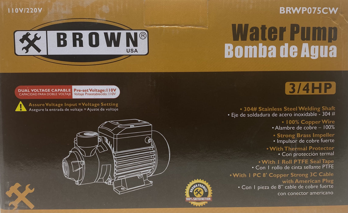 Brown Water Pump 3/4HP 110v/220v BRWP075CW