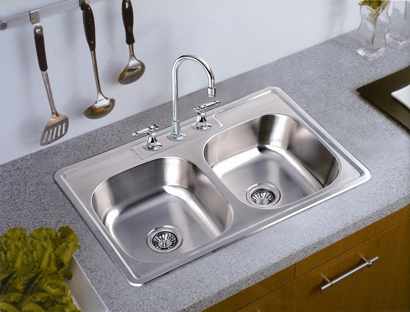 "Vesta Double Kitchen Sink No Drain 8"" Deep 3322-8"
