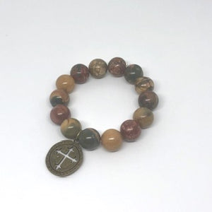 14mm Picasso Jasper with Bronze Cross Medal