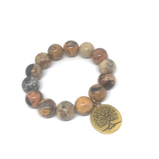 14mm Desert Agate with Brass Tree of Life Medal