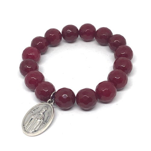 12mm Faceted Ruby Jade with St. Nicholas Medal