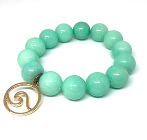 14mm Amazonite Jade with Gold Wave