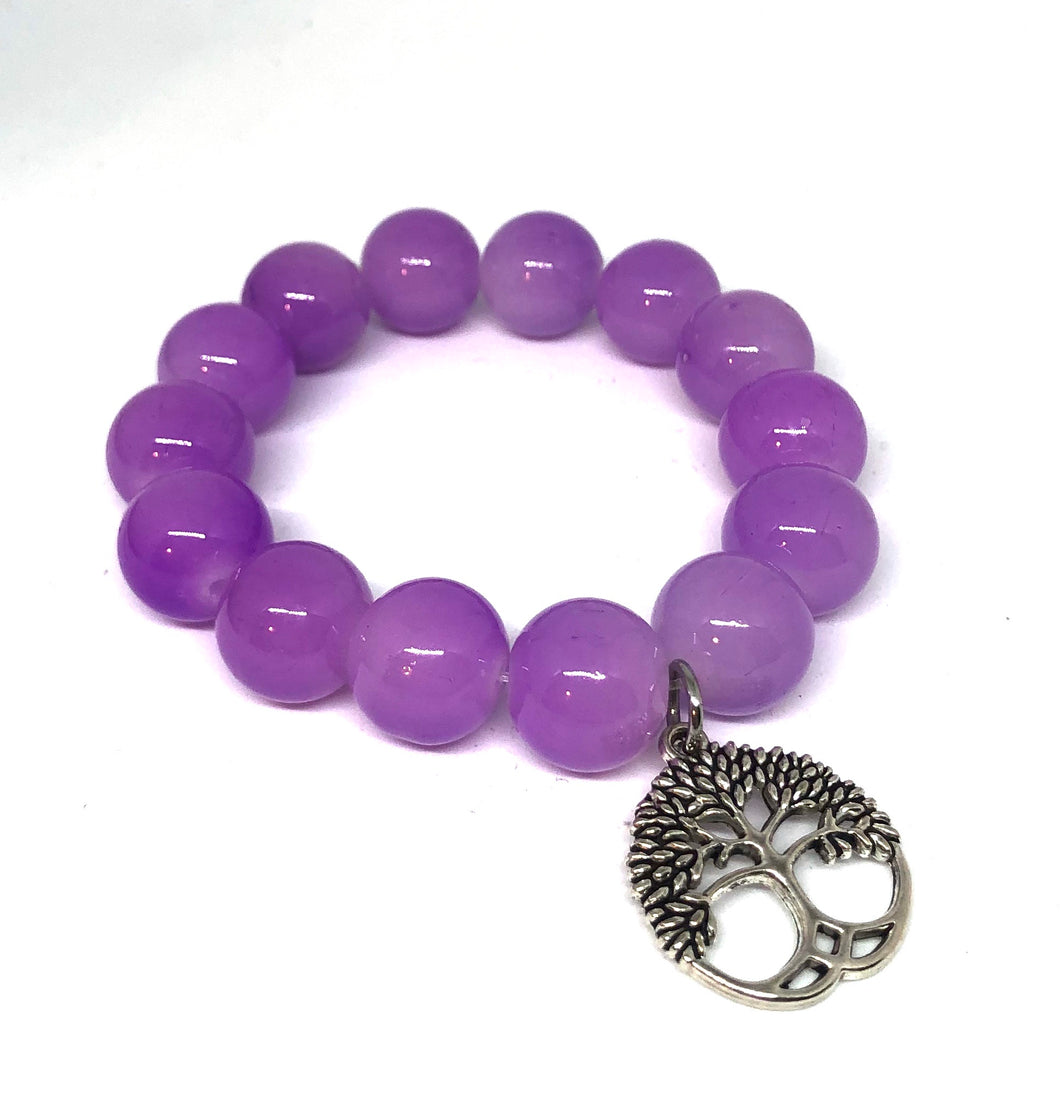 14mm Light Purple Jade with Silver Tree of Life