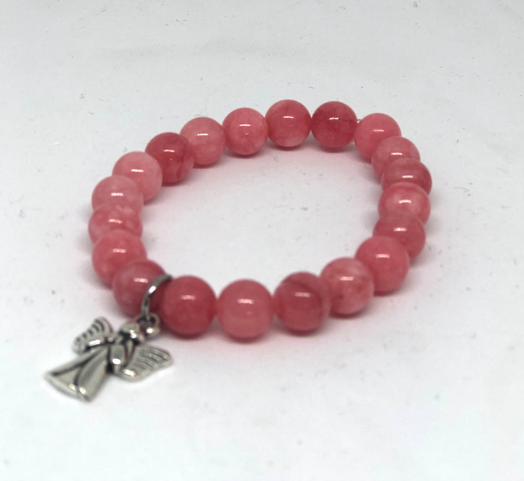 8mm Salmon Jade with Angel Charm