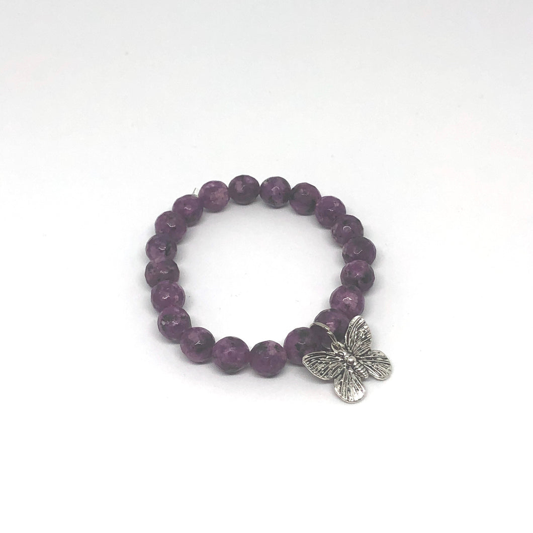 8mm Kiwi Purple Jade with Silver Butterfly