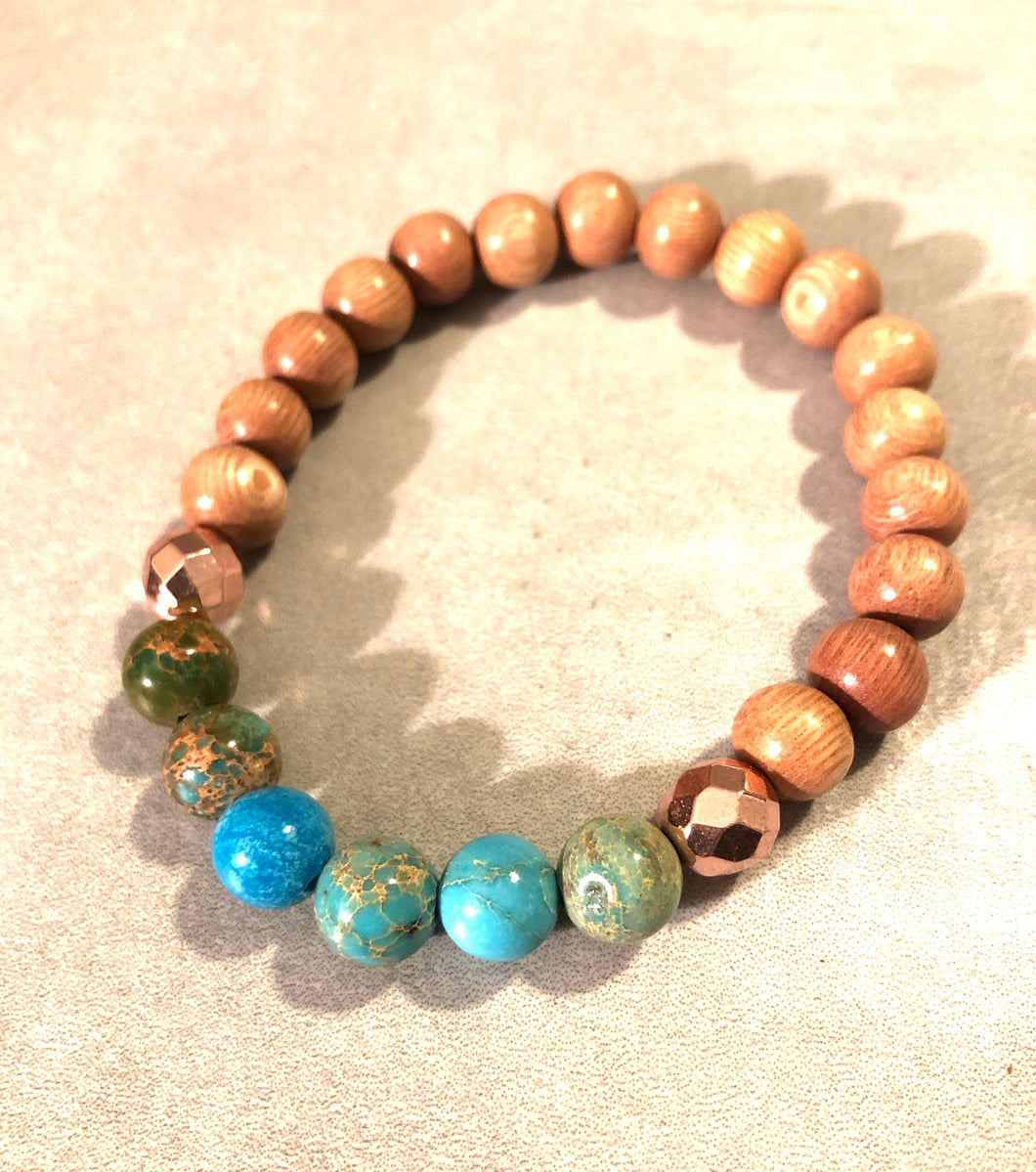 8mm Blue Imperial Jasper and Rosewood Diffuser Bracelet