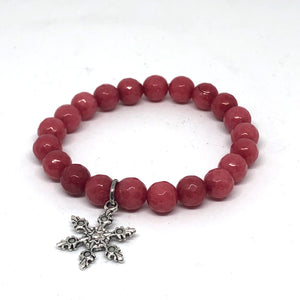 8mm Cherry Jade with Snowflake