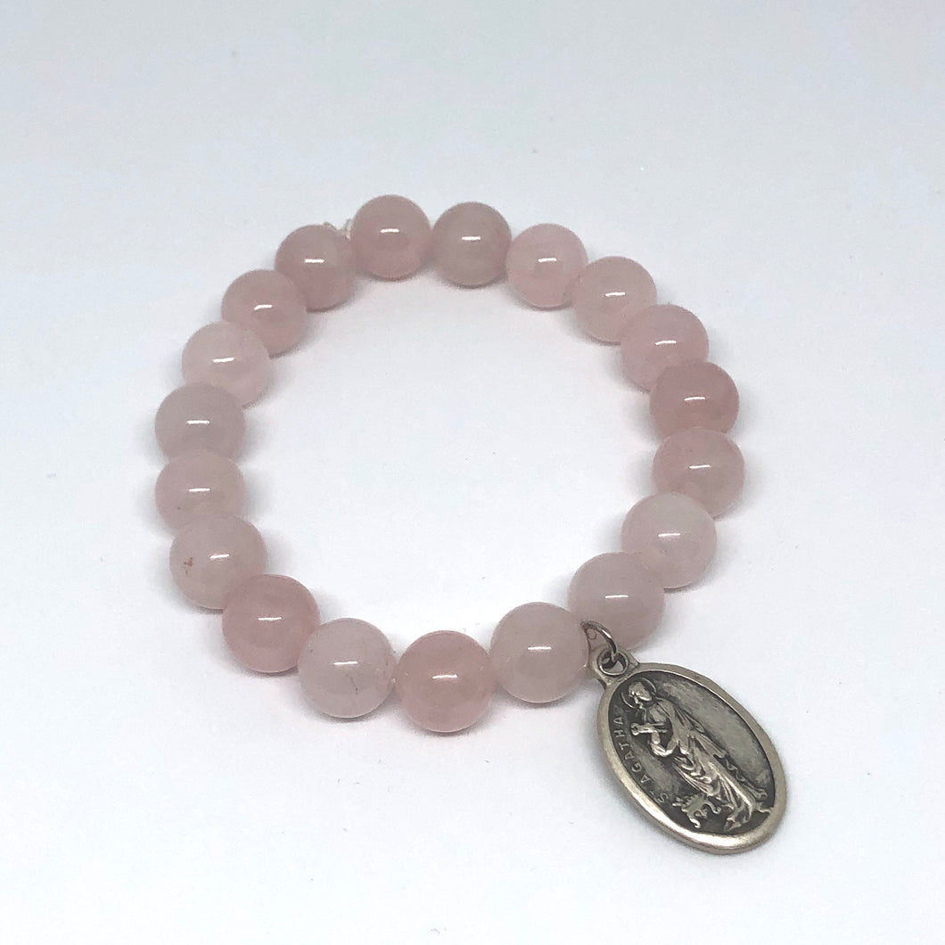 10mm Rose Quartz with St. Agatha Medal