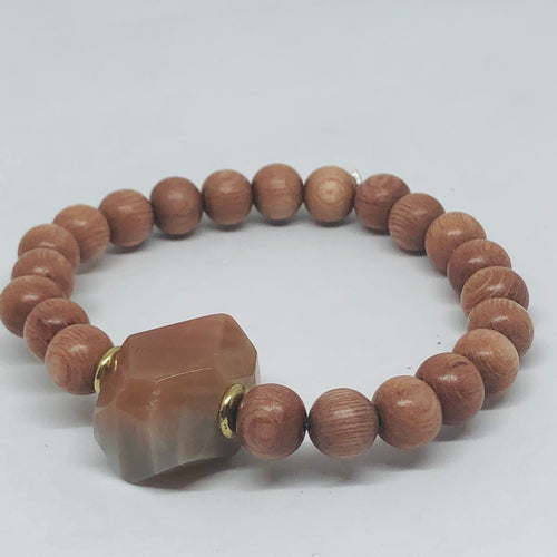 Sunstone Nugget and Rosewood Diffuser Bracelet