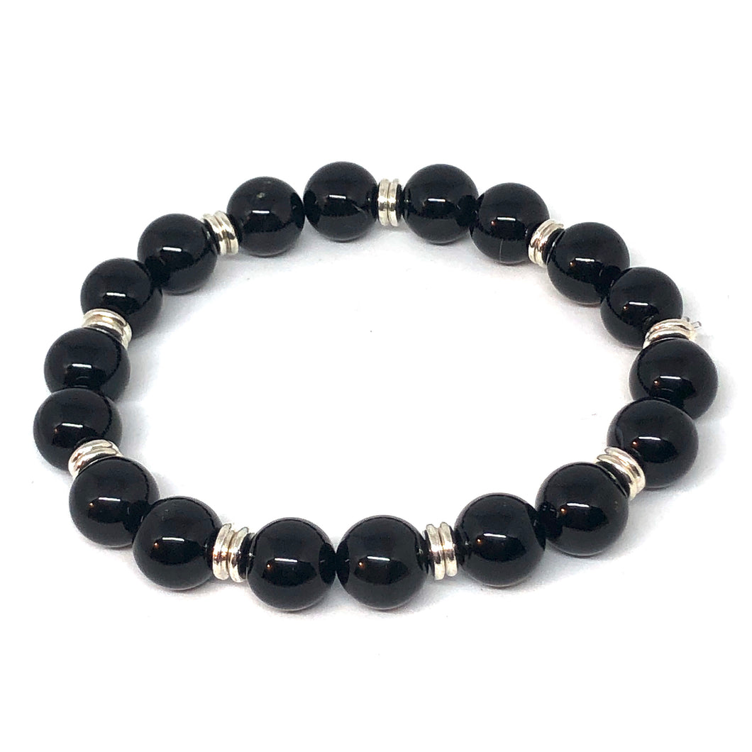 10mm Black Onyx and Silver Accent Layering Bracelet