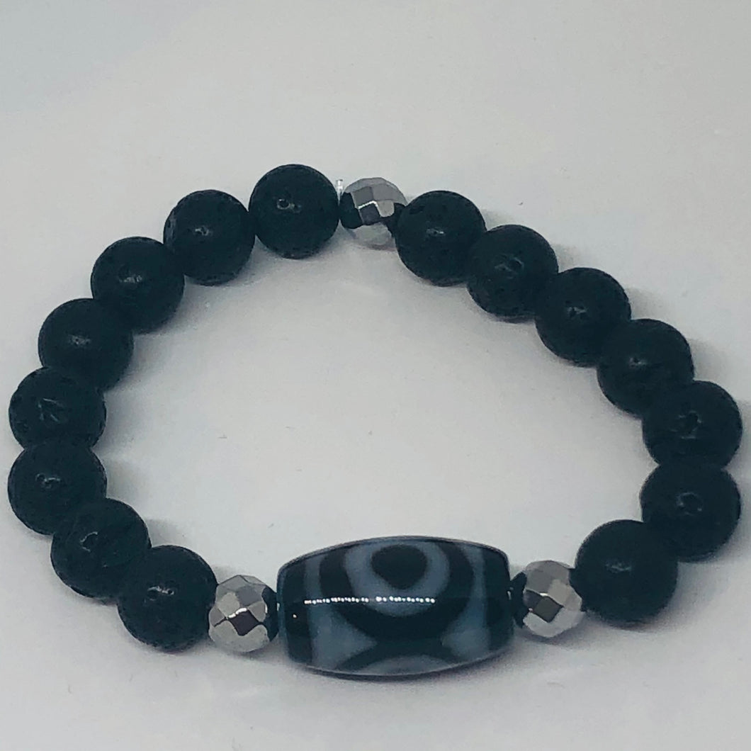 Black Onyx or Lava Rock with Tibetan Agate Focal Bead