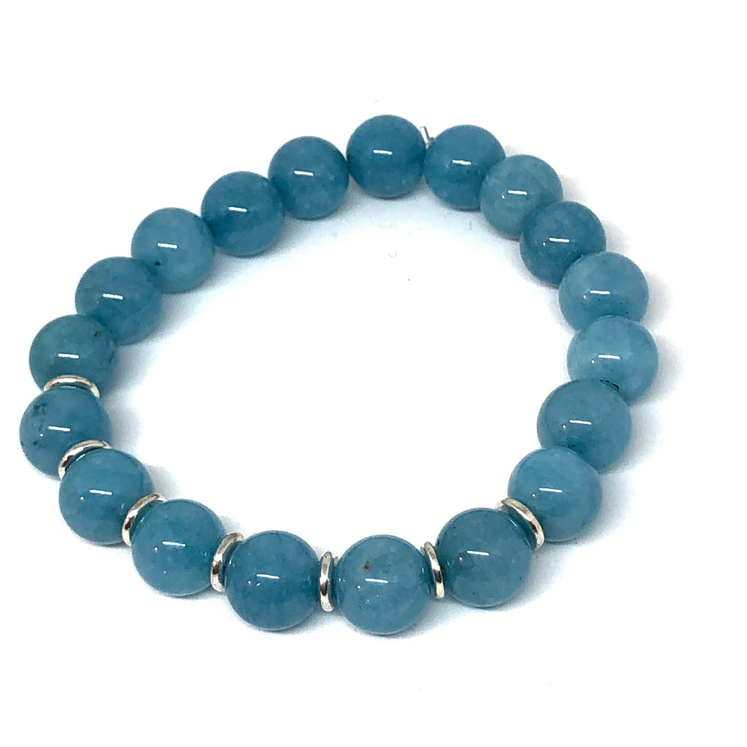 Aquamarine Jade and Silver Accent Layering Bracelet