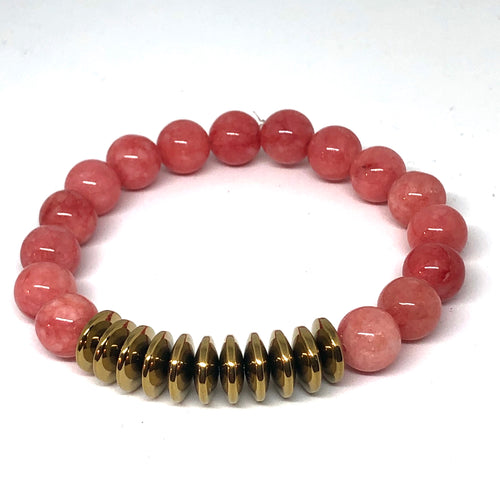 Salmon Jade and Gold Hematite Free Spirit Layering Bracelet