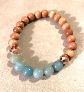 8mm Amazonite and Rosewood Diffuser Bracelet