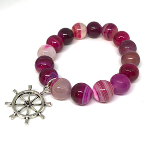 12mm Raspberry Stripe Agate with Silver Ship Wheel