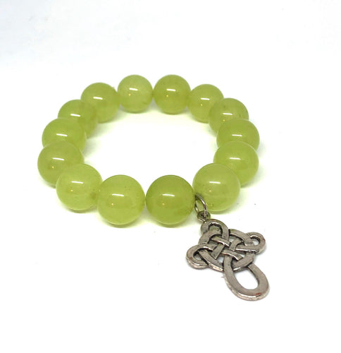 14mm Light Green Jade with Silver Celtic Cross